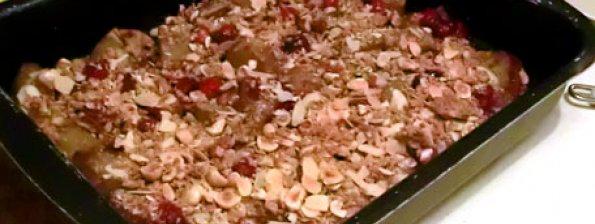 Zoete aardappel met cranberry en cruesli
