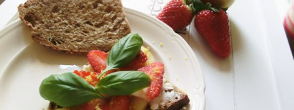 Sandwich geitenkaas met abrikozenjam, aardbeien, appel en basilicum