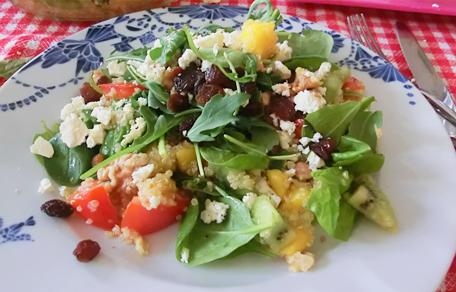 Quinoa salade met kiwi en mango