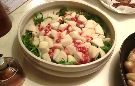Salade met granaatappel en peer