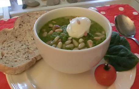 Groene gezonde Popeye soep met spinazie en broccoli